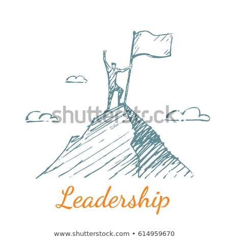 üzletember · rajzolt · perem · hegy · áll · kézzel · rajzolt - stock fotó © ra2studio