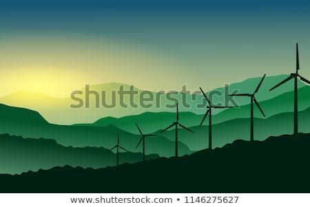background of wind turbines in mountains stock photo © rastudio