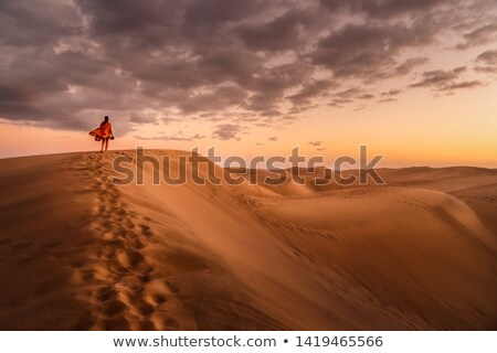 młoda · kobieta · jogging · boso · piasku · pustyni · uruchomiony - zdjęcia stock © blasbike