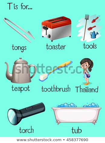 Flashcard letter T is for tongs Stock photo © bluering