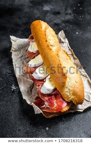 dilimleri · jambon · peynir · biberiye · gıda · ahşap - stok fotoğraf © simply