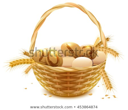 Wicker basket with eggs and wheat ears. Symbol of year 2017 Stock photo © orensila