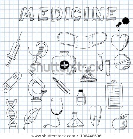 Doodle medici bag icona fiori Foto d'archivio © pakete