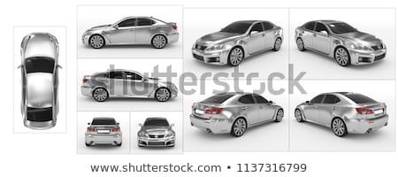 Establecer vehículos blanco coches fondo azul Foto stock © bluering