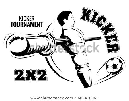 Foto stock: Mesa · partido · de · fútbol · macro · rojo · amarillo · jugadores