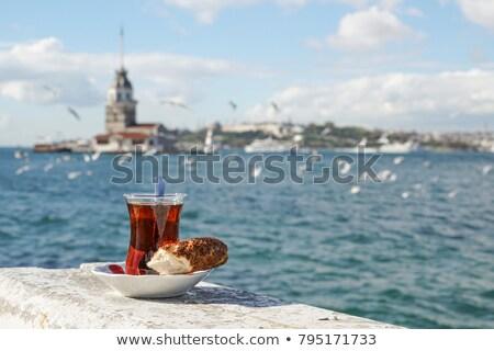 drinking traditional turkish tea outdoors stock photo © marysan