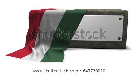 kő · foglalat · üres · tábla · zászló · 3D · renderelt · kép - stock fotó © drizzd