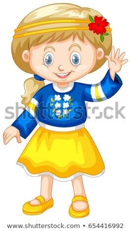 Meisje kostuum hand illustratie gelukkig Stockfoto © bluering