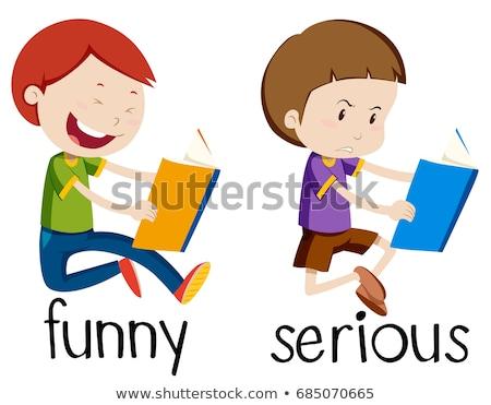 Tegenover grappig ernstig illustratie kind achtergrond Stockfoto © bluering