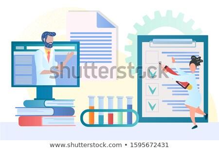 Orvos konzultáció online szalag vektor orvosi Stock fotó © Leo_Edition