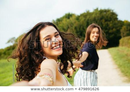 вид сзади смеясь женщину платье белый Сток-фото © feedough