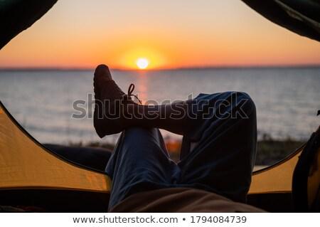 tourist tents on riverbank at sunrise stock photo © vlad_star