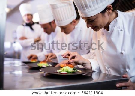 chef · jantar · prato · ordem · estação · comida - foto stock © wavebreak_media