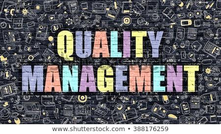 Quality Management Concept. Multicolor on Dark Brickwall. Stock photo © tashatuvango