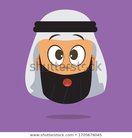 Shocked arab muslim flat cartoon businessman. Surprised saudi ma Stock photo © NikoDzhi