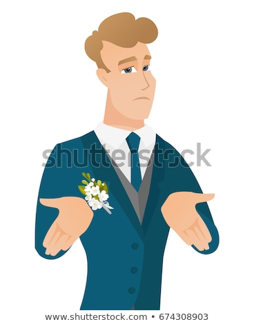 Young caucasian confused groom shrugging shoulders Stock photo © RAStudio