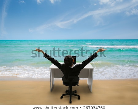 Business woman in a field with arms up Stock photo © IS2
