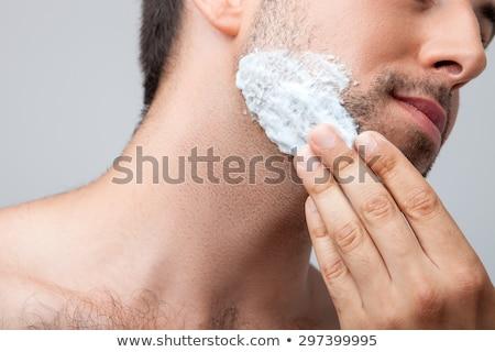 Adam köpük yüz banyo ev Stok fotoğraf © wavebreak_media