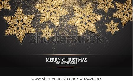 Stockfoto: Goud · christmas · sneeuwvlokken · zwarte · ruimte