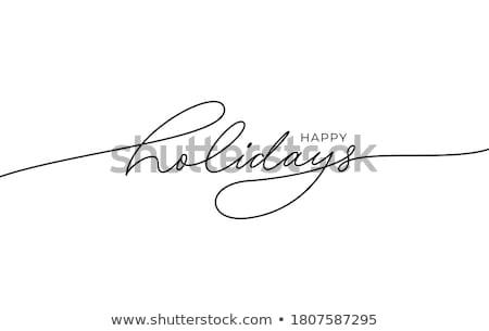 Tél ünnepek ecset kalligráfia boldog terv Stock fotó © Anna_leni