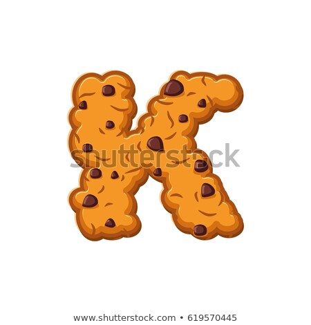 K letter cookies. Cookie font. Oatmeal biscuit alphabet symbol.  Stock photo © popaukropa