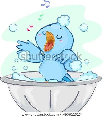 Foto stock: Azul · aves · bano · cantando · ilustración · cute