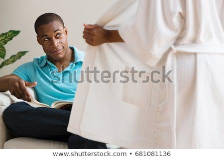 Nő férfi nappali női mosolyog férfi Stock fotó © IS2