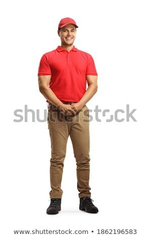 teljes · alakos · portré · mosolyog · férfi · fehér · póló - stock fotó © deandrobot