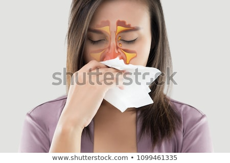Women feeling unwell and sinus on gray background Stock photo © eddows_arunothai
