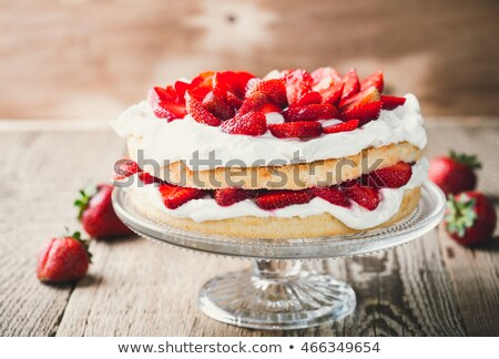 Stock photo: strawberry and cream cake