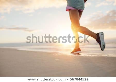 jogging · atleta · donna · esecuzione · sole · tramonto - foto d'archivio © joyr