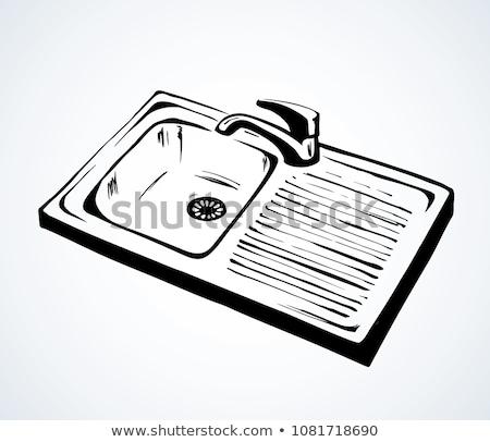 Chrom Plug Hand Bad Kette modernen Stock foto © monkey_business