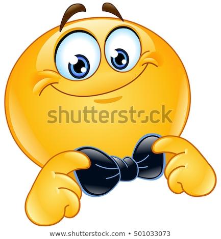 emotikon · csokornyakkendő · kéz · férfi · boldog · felirat - stock fotó © yayayoyo