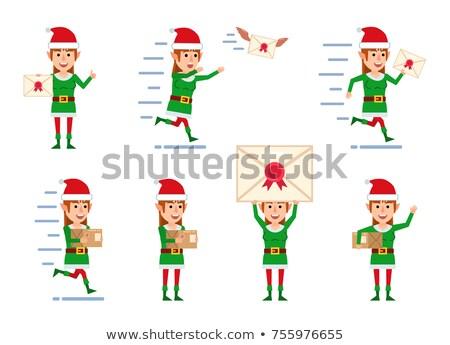 gelukkig · christmas · elf · illustratie · kind · Rood - stockfoto © bluering