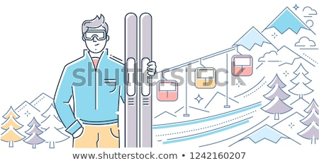 Ski resort - modern line design style banner Stock photo © Decorwithme