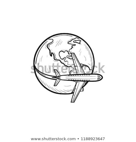 самолет · Flying · вокруг · Мир · линия · икона - Сток-фото © rastudio