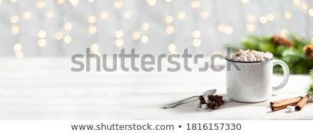 Karácsony forró csokoládé mályvacukor karácsony fenyőfa ajándék doboz Stock fotó © karandaev