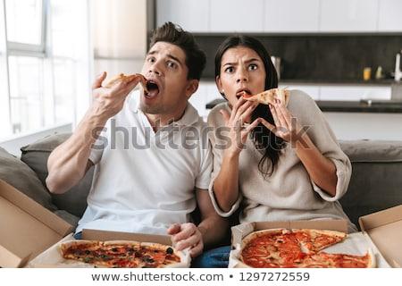 çift · pizza · tv · gıda · mutlu - stok fotoğraf © boggy
