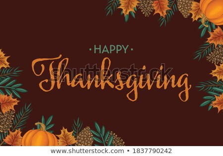 a poster on the theme of the traditional dinner for thanksgiving day poultry or domestic fowl vect stock photo © lady-luck