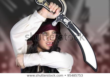 bom · menino · posando · pirata · traje · pistola - foto stock © acidgrey