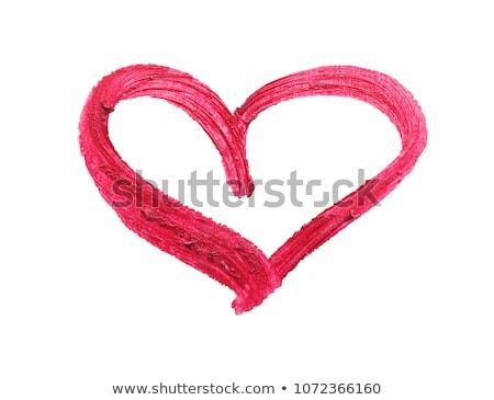 Nő vörös rúzs szív alakú valentin nap szépség Stock fotó © dolgachov