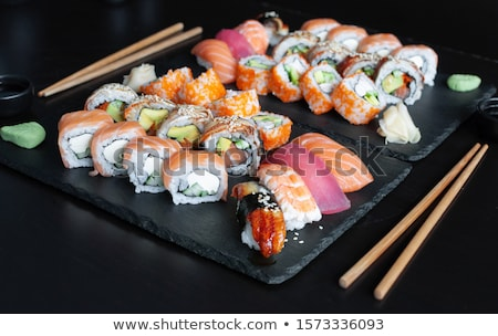 Stock photo: set of rolls on plate