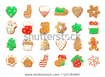Different shapes of Christmas gingerbread cookies assorted in circle Stock photo © dash