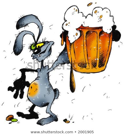 Stockfoto: Dronken · cartoon · konijn · illustratie · naar
