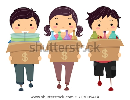 Stickman Kids Recycle Materials Money Illustration Stock photo © lenm