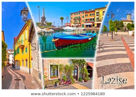 göl · kasaba · turist · kartpostal · ad · etiket - stok fotoğraf © xbrchx