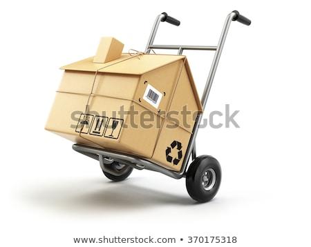 Foto stock: Mano · camión · cartón · cajas · 3D