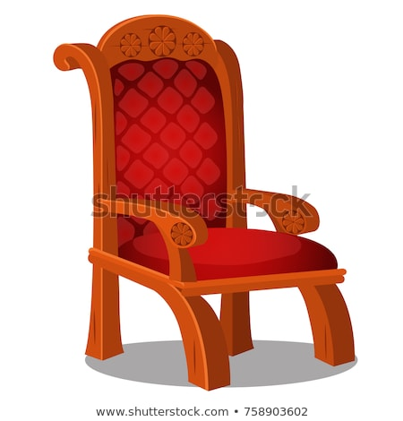 Vintage wood chair with red upholstered isolated on a white background. Vector cartoon close-up illu Stock photo © Lady-Luck