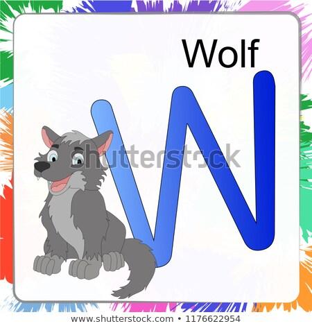 Сток-фото: волка · животного · детей · алфавит · плакат