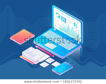 Lugar de trabajo portátil gráficos extra diagramas Screen Foto stock © robuart
